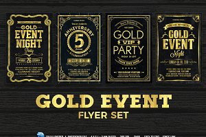 Gold Event Flyers Set