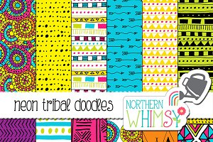 Neon Tribal Doodle Patterns