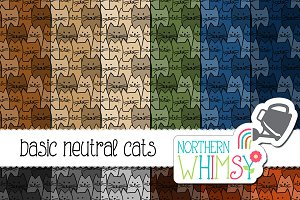 Seamless Cat Patterns - Brown & Blue