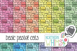 Seamless Cat Patterns - Pastel