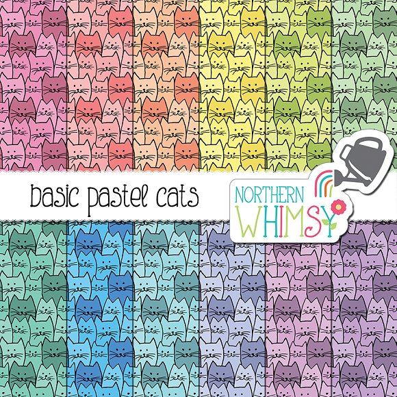 Seamless Cat Patterns Pastel