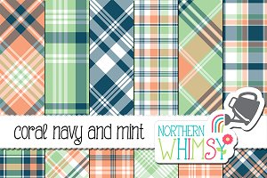 Coral, Navy, and Mint Plaid Patterns