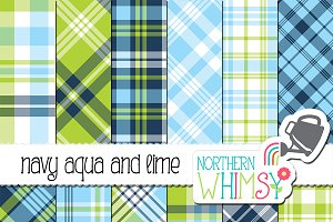 Navy, Aqua, & Lime Plaid