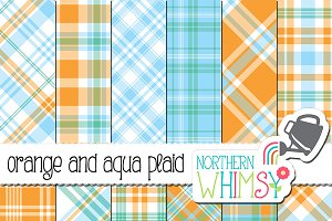 Orange and Aqua Blue Plaid Patterns