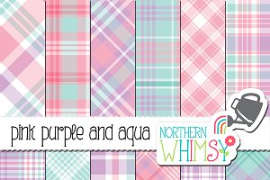 Pink, Purple, & Aqua Plaid