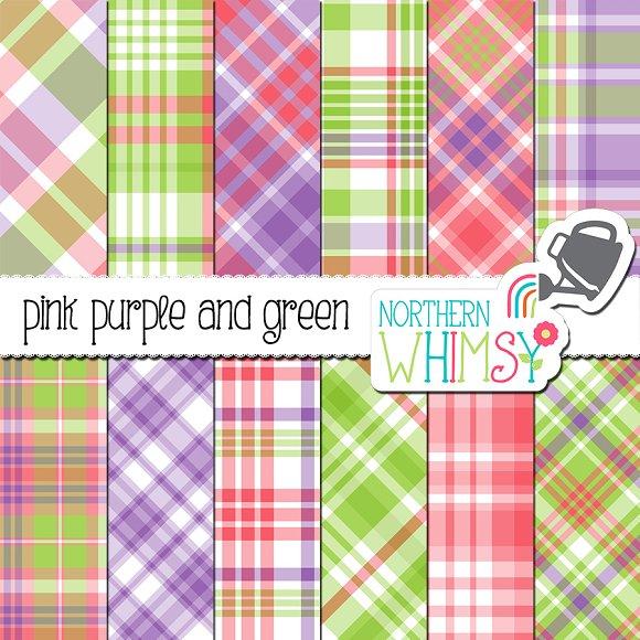 Pink Purple Green Plaid Patterns