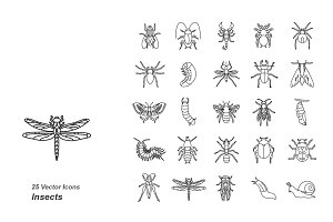 Insects outlines vector icons