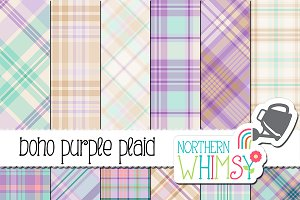 Purple and Turquoise Boho Plaid