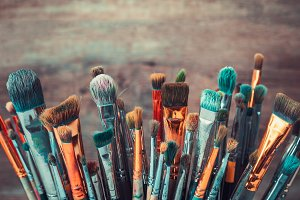 Bunch of artistic paintbrushes