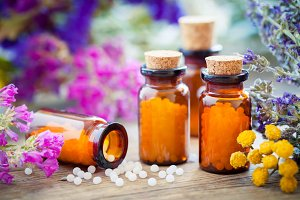 homeopathic globules and herbs