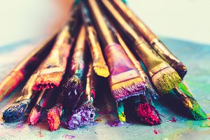 Artist paintbrushes with paints