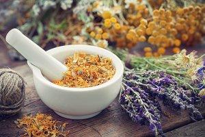 Mortar and healing herbs