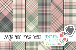 Pink, Gray, & Green Plaid Patterns