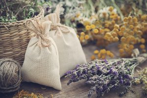Sachets and dried medicinal herbs