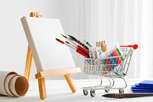 shopping cart full with artist goods