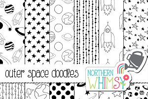 Black & White Space & Rocket Doodles