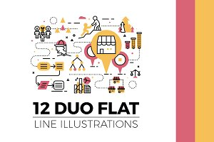 12 Flat Line Web Banner Illustration