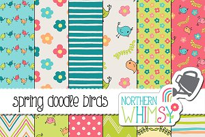Spring Patterns - Birds & Flowers
