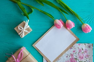 Mothers day.pink tulips and card