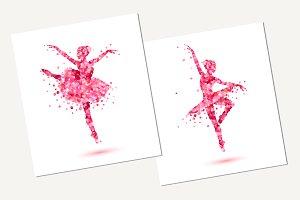 Ballerinas silhouette. Vector petals