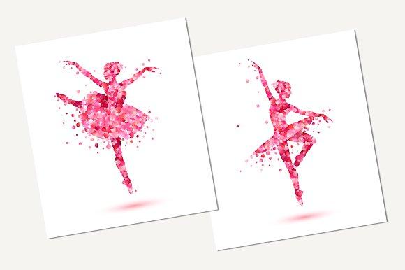 Ballerinas Silhouette Vector Petals