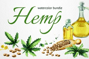HEMP bundle. Hand painted watercolor