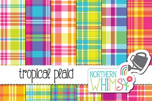 Tropical Seamless Summer Plaid