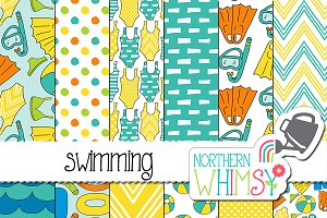Summer Seamless Patterns:  Swimming