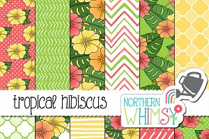 Tropical Hibiscus Seamless Patterns