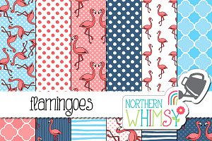 Flamingo Seamless Patterns