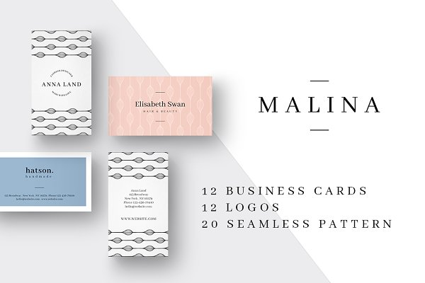 Business Card Templates: AgataCreate - MALINA Business Cards + Logos