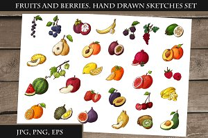 Fruits and berries.Hand drawn sketch