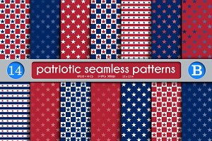 Patriotic set seamless patterns B