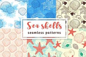 Sea shells seamless patterns