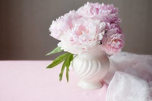 Pink Peonies in Vase with lace