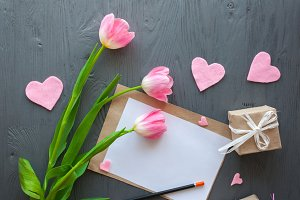 mothers day,pink tulips and presents