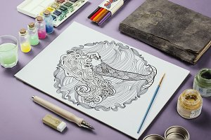 Coloring pages with mermaids