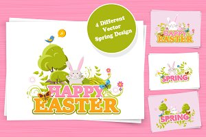 Happy Easter Background Set.
