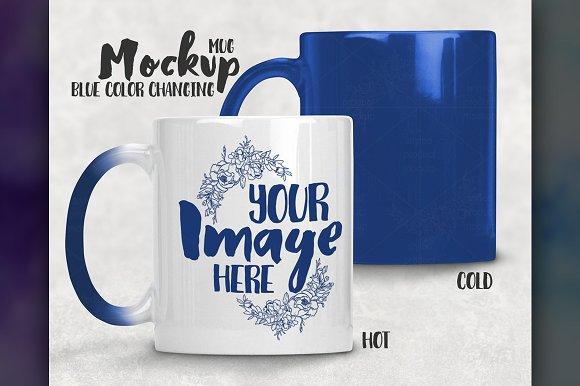 Free Blue Color Changing Mug Mockup