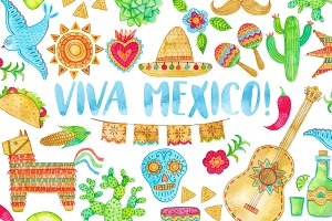 Watercolor Mexico. Cinco de Mayo.