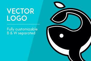 Vector logo - Whale (black & white)