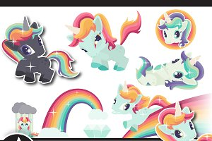 Unicorn clip art set two