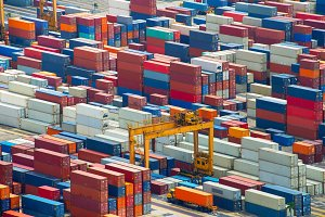 Containers in Singapore port