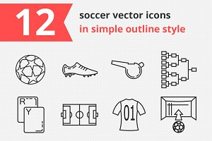 12 soccer vector icons