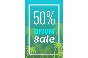 Sale banner, poster with palm leaves, jungle leaf. Beautiful vector floral tropical summer background. Vertical format.