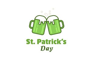 St. Patricks Day greeting. Vector beer icon. Two beer glasses against irish shamrock. Line illustration.