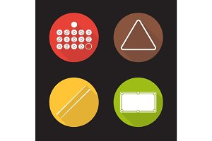 Billiard equipment flat design long shadow icons set