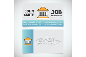 Business card print template with courthouse logo