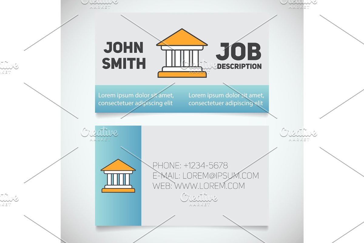 Design Bank Wit.Business Card Print Template With Courthouse Logo Product