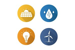 Eco energy flat design long shadow icons set
